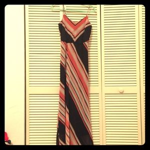 Black and Pink Stripped Maxi Dress
